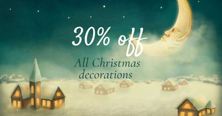 Ontwerpsjabloon van Facebook AD van Christmas Decorations Offer with Moon