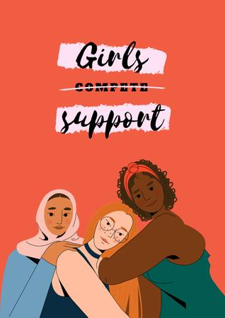 Girl Power Inspiration with Diverse Women Poster – шаблон для дизайну