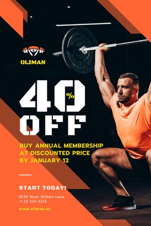 Plantilla de diseño de Gym Promotion with Man Lifting Barbell Pinterest