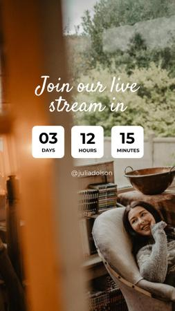 Plantilla de diseño de Live Stream Ad with Woman in Cozy Armchair Instagram Story