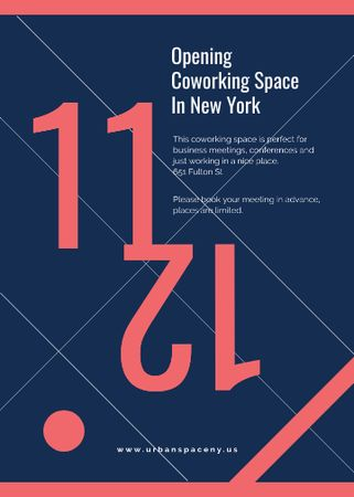 Coworking Opening Minimalistic Announcement in Blue and Red Invitation Modelo de Design