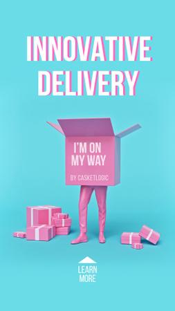 Plantilla de diseño de Funny Illustration of Delivery Box with Human Legs Instagram Story