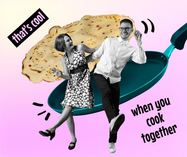 Plantilla de diseño de Funny Joke with Couple on Skillet Facebook