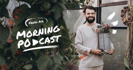Ontwerpsjabloon van Facebook AD van Podcast Topic Announcement with Guy holding Flowers