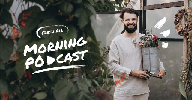 Podcast Topic Announcement with Guy holding Flowers Facebook AD – шаблон для дизайна