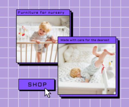Cute Little Child in Cot Medium Rectangle Modelo de Design