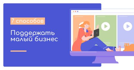 Girl doing Online Shopping on blue background Facebook AD – шаблон для дизайна
