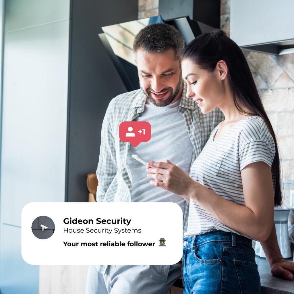 House Security System Ad with Couple at Home Instagram – шаблон для дизайну