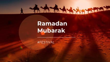 Ramadan Holiday Announcement with Camels in Desert FB event cover Modelo de Design