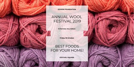 Knitting Festival Invitation with Wool Yarn Skeins Twitterデザインテンプレート