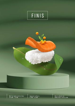 Asian Menu with Sushi Poster Modelo de Design