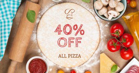 Modèle de visuel Restaurant promotion with Pizza ingredients - Facebook AD