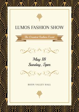 Fashion Show Invitation with Art Deco Pattern
