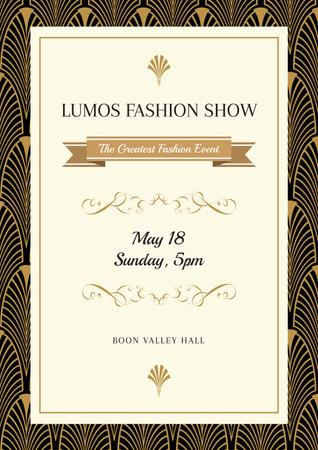 Plantilla de diseño de Fashion Show Invitation with Art Deco Pattern Poster