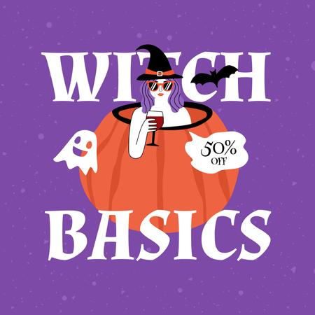 Halloween Mood with Witch in Pumpkin holding Wine Animated Post Design Template