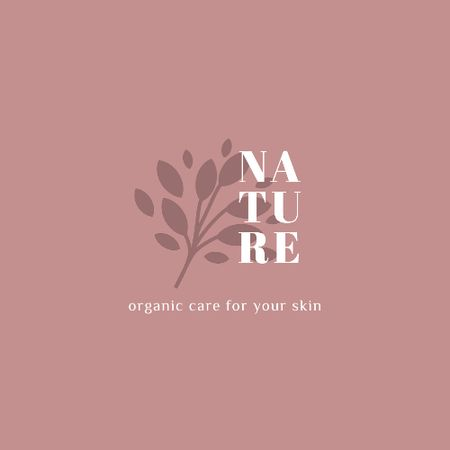 Skincare Ad with Plant Leaves in Pink Animated Logo Tasarım Şablonu