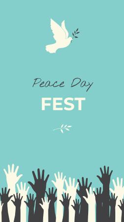 Plantilla de diseño de Peace Day Festival Announcement with White Dove Instagram Story