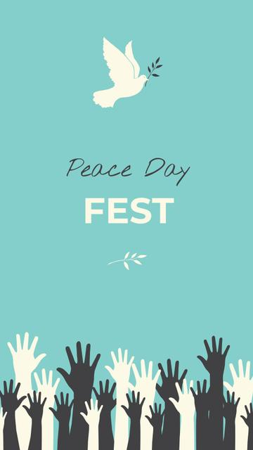 Ontwerpsjabloon van Instagram Story van Peace Day Festival Announcement with White Dove