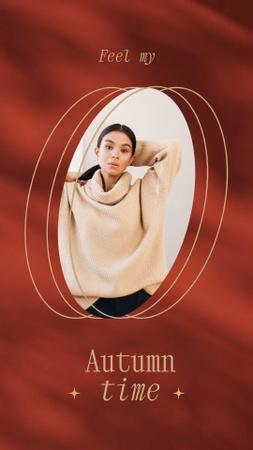 Plantilla de diseño de Autumn Inspiration with Girl in Warm Sweater Instagram Video Story