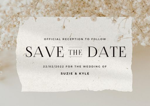 Wedding Announcement With Tender Flowers Blossom