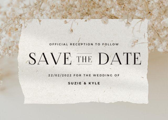 Plantilla de diseño de Wedding Announcement with Tender Flowers Blossom Card