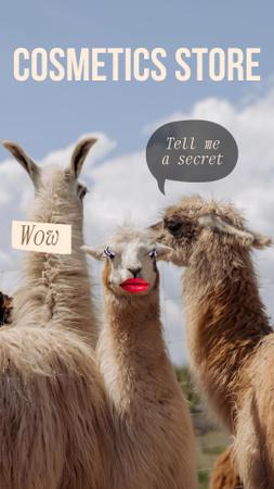 Beauty Store Promotion with Funny Lamas Instagram Story Modelo de Design
