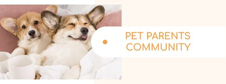 Pets community ad with cute Corgi Puppies Facebook cover – шаблон для дизайна