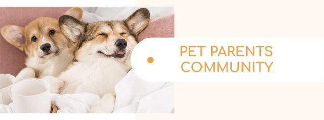 Plantilla de diseño de Pets community ad with cute Corgi Puppies Facebook cover