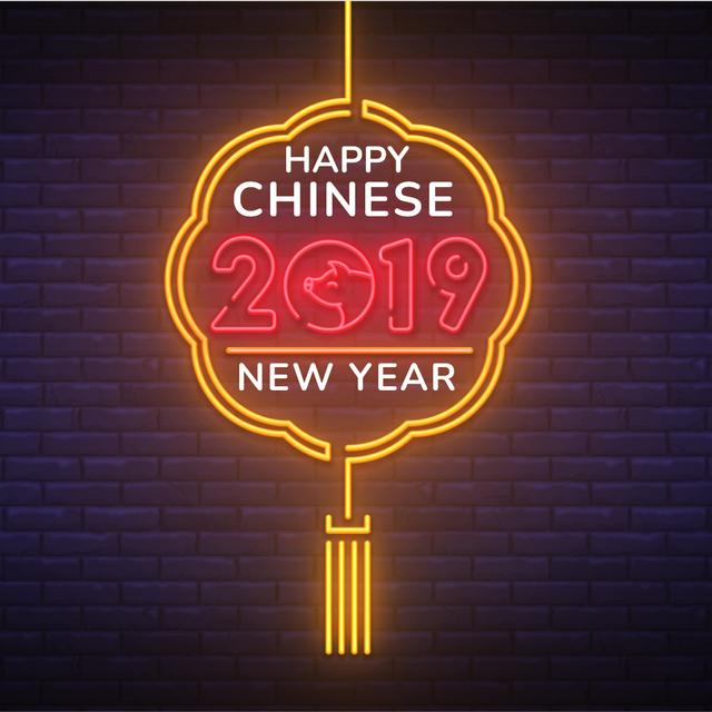 Happy Chinese Pig New Year Animated Post Modelo de Design