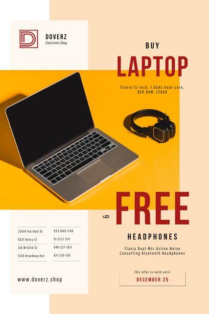 Szablon projektu Gadgets Offer with Laptop and Headphones Tumblr