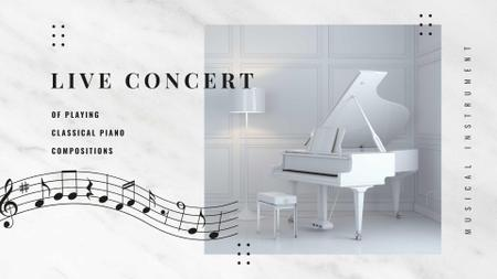 Event Announcement with Piano in White Room FB event cover – шаблон для дизайна
