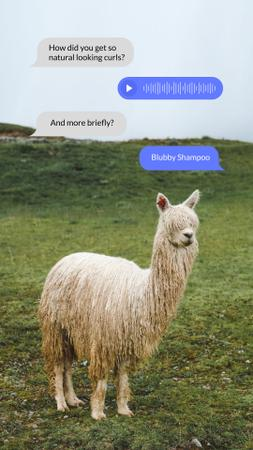 Template di design Funny Joke about Hair Washing with Cute Alpaca Instagram Story