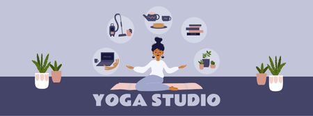 Template di design Woman meditating at Home Facebook cover
