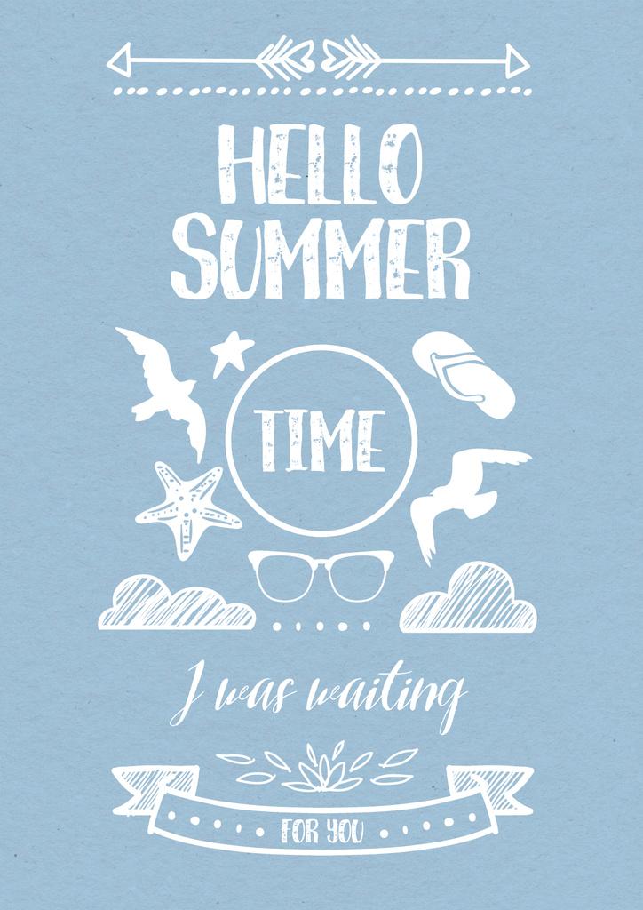 Hello summer Quote on Blue — Crear un diseño