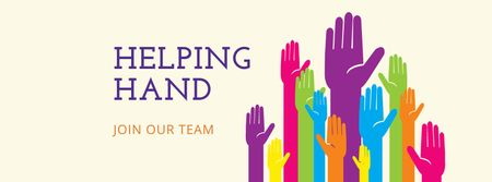 Charity Ad with People giving Hands Facebook cover Modelo de Design