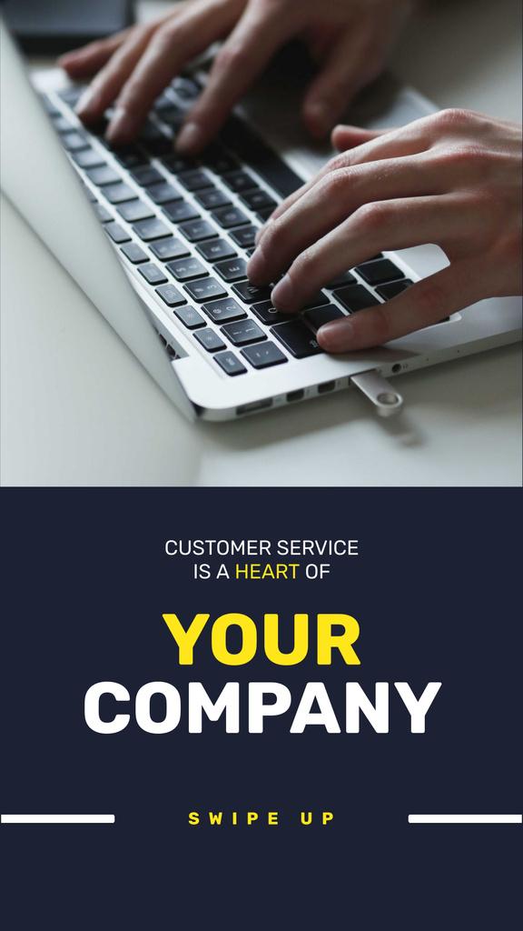 Designvorlage Customer Service Ad with Man typing on Laptop für Instagram Story