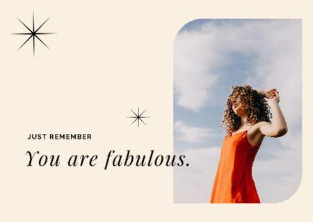 Plantilla de diseño de Inspirational Phrase with Beautiful Young Woman Card