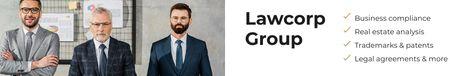 Law Group Confident colleagues LinkedIn Cover Tasarım Şablonu