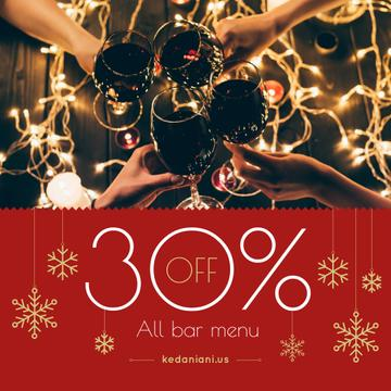 Christmas Bar Offer People Toasting with Wine
