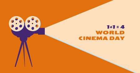 Template di design Cinema Day Offer with Film Projector Facebook AD