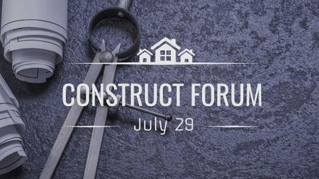 Construct Forum Announcement with House Blueprints FB event cover Modelo de Design
