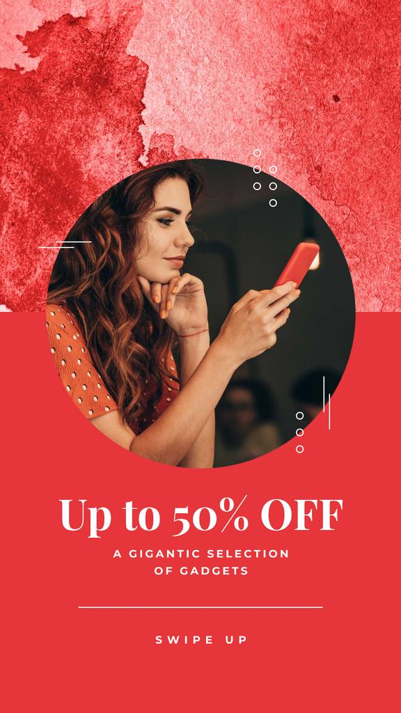 Gadgets Sale Ad with Woman using Phone Instagram Story Tasarım Şablonu