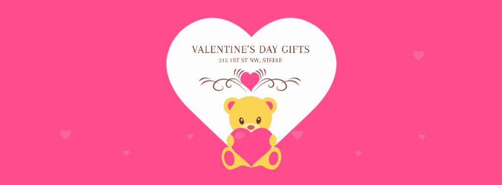 Pink Valentine's Card with Teddy Bear — Crear un diseño