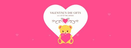 Pink Valentine's Card with Teddy Bear Facebook Video cover Modelo de Design