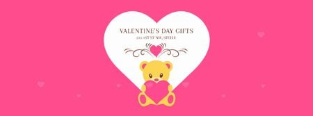 Pink Valentine's Card with Teddy Bear Facebook Video coverデザインテンプレート