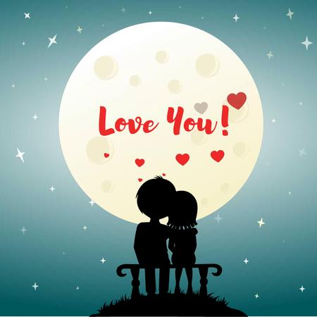 Designvorlage Lovers sitting in the Moonlight on Valentine's Day für Animated Post