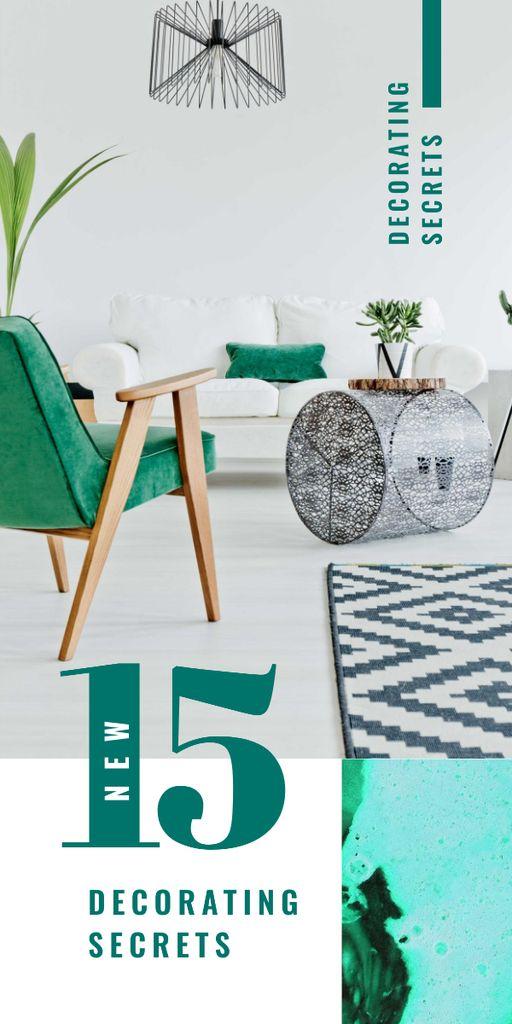 Plantilla de diseño de Cozy modern Interior in green colors Graphic
