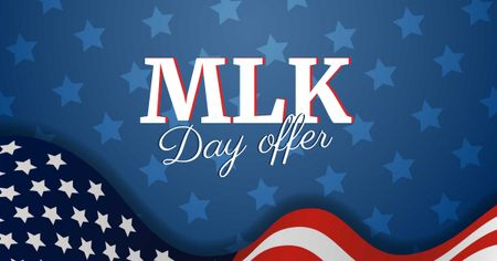 Template di design MLK Day Offer with American Flag Facebook AD