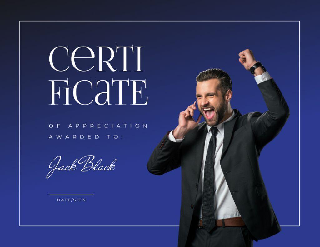 Business Achievement Award with Happy Businessman Certificate – шаблон для дизайну