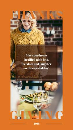 Template di design Woman preparing Thanksgiving feast Instagram Story